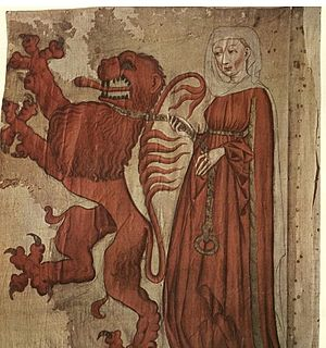 Agnes van den Bossche - Unknown artist, Flag of Frauenfeld, 15th century, Historisches Museum, Frauenfeld. A very similar design, but with a somewhat more matronly maid