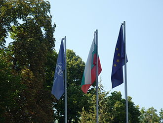 Foreign relations of Bulgaria - Flags of NATO, Bulgaria, European Union at the Military club of Plovdiv, Bulgaria.