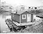 Floating home near First Avenue South Bridge, Seattle, 1954.jpg