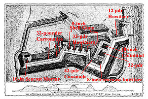 Fort Wagner - Plan of Fort Wagner, with overlay showing armament