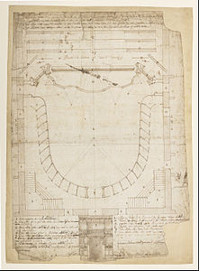 Francesco Galli Bibiena - Theatro Filarmonico of the Accademia Filarmonica of Verona, Italy, Auditorium and Main Entrance Elev... - Google Art Project.jpg
