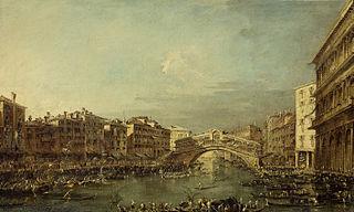 Une regatte sur le Grand Canal avec le pont du Rialto à Venise
