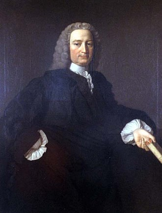 Francis Hutcheson (philosopher) - Portrait by Allan Ramsay, circa 1745. Wearing a black academic gown over a brown coat, Hutcheson holds a copy of Cicero's De finibus.