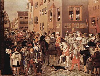 Entry of Emperor Rudolf I into Basel in 1273, Franz Pforr, 19th century