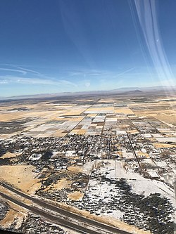 Aerial view of Holden, with Interstate 15 in bottom left, November 2015