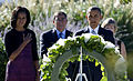 From left, first lady Michelle Obama, Secretary of Defense Leon E. Panetta and President Barack Obama observe a moment of silence at the Pentagon Memorial during a 9-11 remembrance ceremony in Arlington, Va 120911-D-IE715-279.jpg
