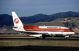 Frontier Airlines (1950–1986) - Frontier Airlines livery in 1983;  Boeing 737-200 N7382F