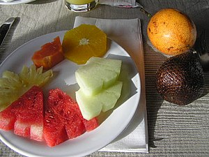 Fruits on the plate (clockwise, from top right...