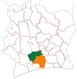 Location of Gôh Region (green) in Ivory Coast and in Gôh-Djiboua District