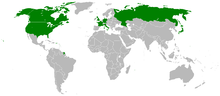 Map of G8 countries