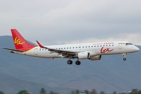 GX Airlines Embraer 190LR on finals at Sanya Phoenix International Airport.jpg