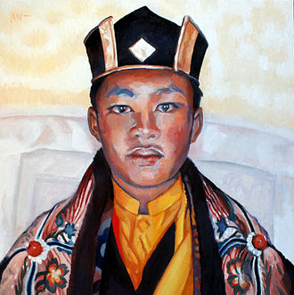 "Ogyen Trinley Dorje - ""Gyalwa Karmapa"" (Ogyen Trinley Dorje), by painter Claude-Max Lochu, exhibition for the project of Temple for Peace in France, 2008"