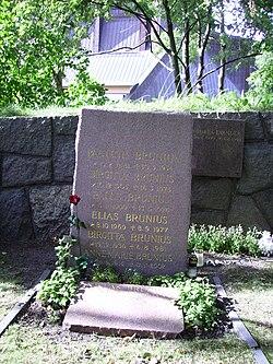 Palle Brunius gravsted på Galärvarvskyrkogården i Stockholm.