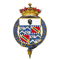 Garter-encircled Shield of Arms of Gilbert Elliot-Murray-Kynynmound, 4th Earl of Minto, KG, GCSI, GCMG, GCIE, PC.png