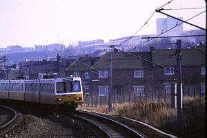 Gateshead Stadium Metro station - Image: Gateshead Stadium Metro station, 20 February 1985