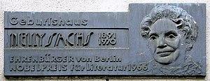 Nelly Sachs - Image: Gedenktafel Maaßenstr 12 (Schö) Nelly Sachs