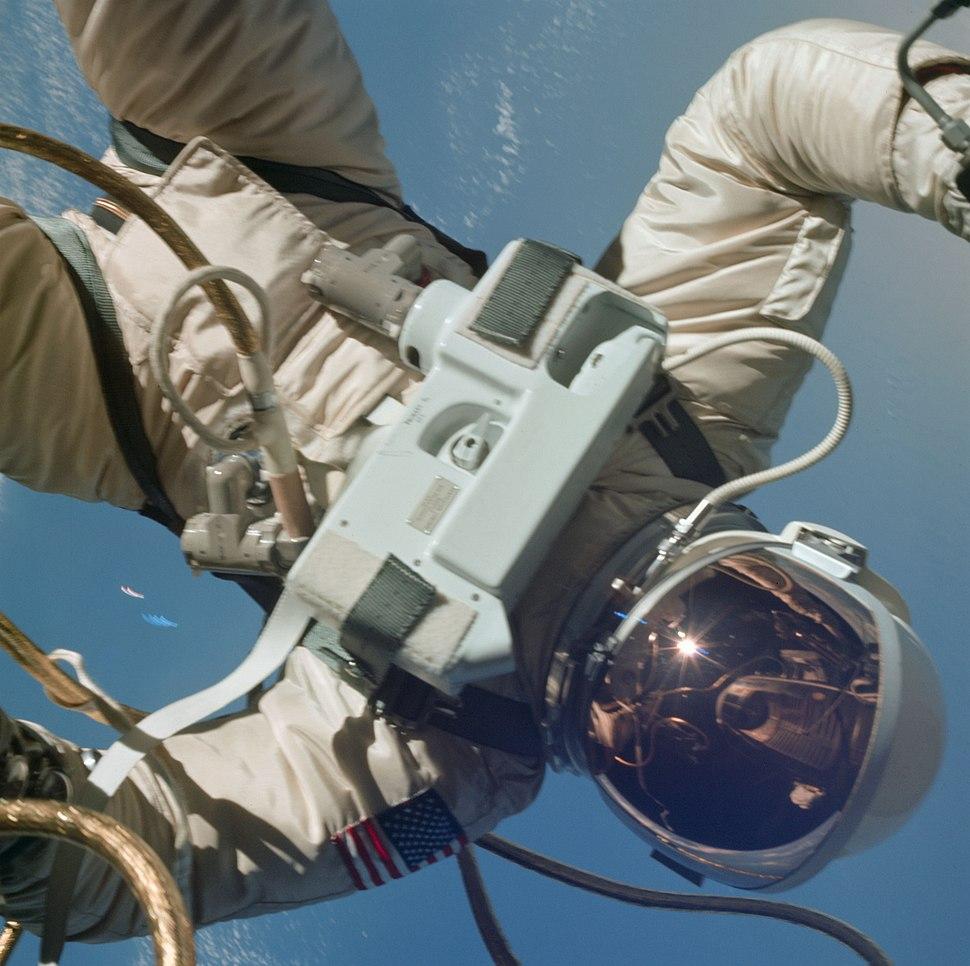 Gemini 4 EVA White floats