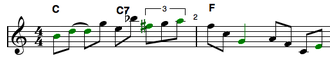 Impro-Visor - Lick generated using grammar to produce notes