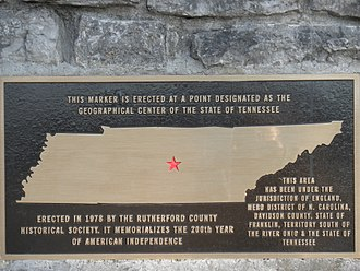 Murfreesboro, Tennessee - Plaque on a stone monument erected in 1978 designating the geographic center of Tennessee.