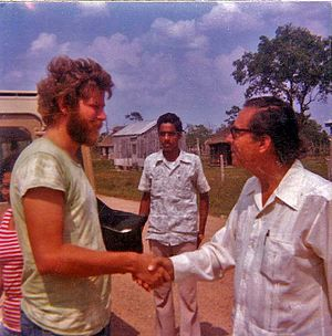 George Cadle Price - Price and a Peace Corps volunteer, 1976