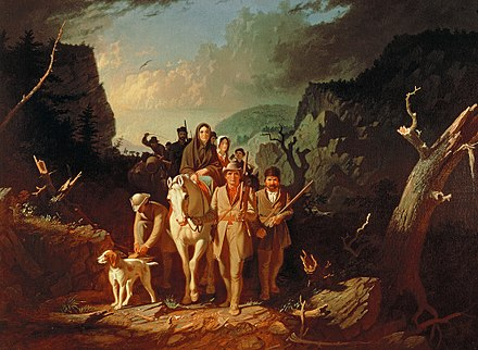 Oil painting of Daniel Boone escorting settlers through the Cumberland Gap - Appalachian Mountains