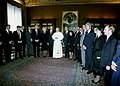 George H. W. Bush, Barbara Bush, and others meet with Pope John Paul II at the Vatican.jpg