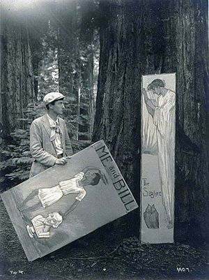 George Sterling - Sterling, posing with caricatures of himself at the Bohemian Grove, 1907