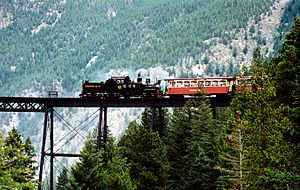 Georgetown Loop Railroad - Train crossing the new High Bridge of the Georgetown Loop in 2002. Engine is a Shay locomotive.
