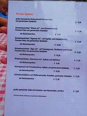Schnitzel - German restaurant menu showing various styles of schnitzel.