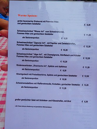 Schnitzel - German restaurant menu showing various styles of schnitzel.