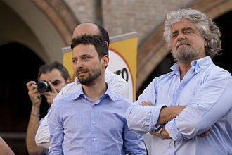 Five Star Movement - Beppe Grillo (on the right) with Giovanni Favia (on the left), who was expelled from the movement in 2011