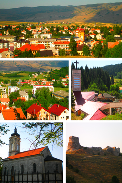 From upper left: Panoramic view of Glamoč, panoramic view of Lamele and Luke neighbourhood, Catholic church of Saint Elias, Orthodox church, medieval fortress