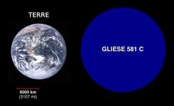 Comparaison (à la même échelle) de la Terre et de Gliese 581 c.