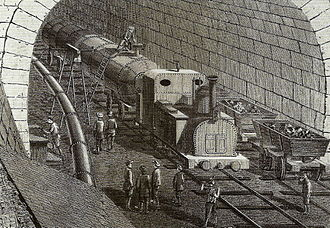 Gotthard railway - Contemporary drawing showing a construction locomotive