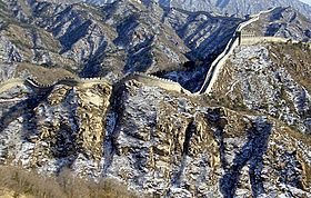 A defensive wall. The Great Wall of China near Beijing