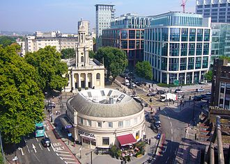 Great Portland Street tube station - Station as seen from above looking north towards Regents Place