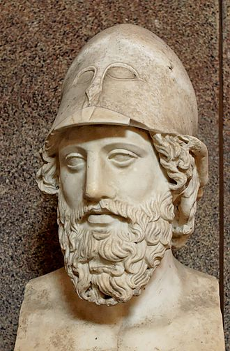 Strategos - Bust of unnamed Stratigos with Corinthian helmet; Hadrianic Roman copy of a Greek sculpture of c. 400 BC