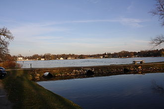 Green Lake (Wisconsin) - Looking over Green Lake at the city of Green Lake