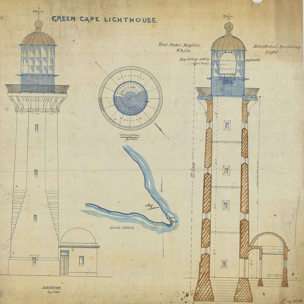 File green cape lighthouse plans wikimedia for Lighthouse blueprints plans
