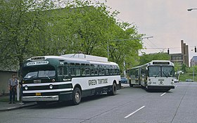 Green Tortoise bus and Metro Transit MAN articulated bus in Seattle 1984.jpg