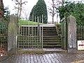 Grosvenor Park Gate with Bench Mark - geograph.org.uk - 671613.jpg
