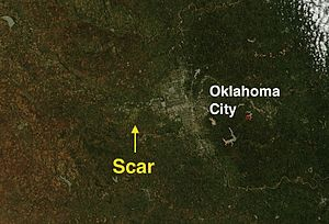 2013 El Reno tornado - Satellite image of the Oklahoma City area on June 2 displaying the ground scar left behind by the tornado.