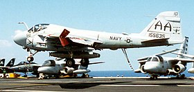 Grumman A-6E Intruder of VA-75 lands on USS Enterprise (CVN-65) on 9 September 1996 (6507871).jpg