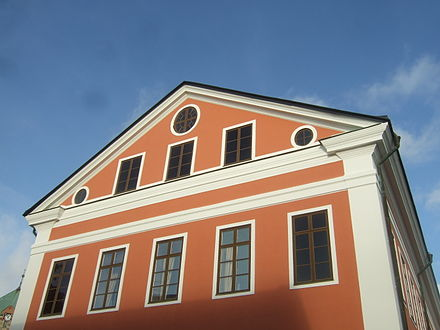 A gable roof with two cornice returns on the Harnosands radhus Harnosands radhus 08.jpg
