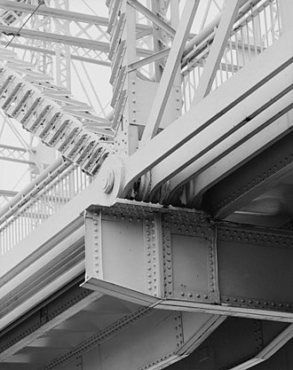 Coraopolis Bridge - Coraopolis Bridge, from below deck, showing deck girders, eyebar tension members, lattice girders of truss superstructure