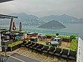 HK 香港海洋公園 Ocean Park Terrace Cafe podium restaurant view Southern District Ap Lei Chau channel Middle Island 11 Apr 2013.JPG