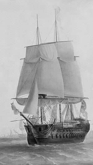 HMS Carnatic off Plymouth, 18 August 1789 RMG B6883 (cropped).jpg