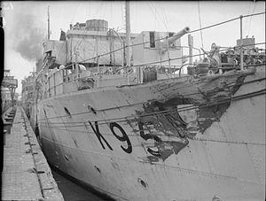 HMS Dianthus damage from ramming U-boat IWM A 11949.jpg