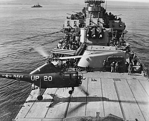 Afterdeck - Image: HO3S landing on after deck of USS Manchester (CL 83)