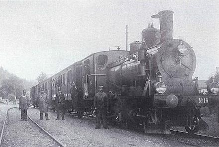 HWB train hauled by locomotive Ed 3/4 16 in about 1920 in Menznau